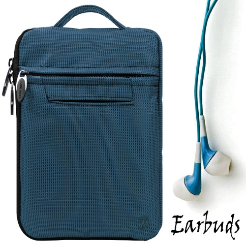 "Blue Mighty Nylon Jacket Slim Compact Protective Sleeve Shoulder Bag Case with accessories compartment for Pandigital Star - 7"" Media Tablet + Includes a Crystal Clear High Quality HD Noise Filter Ear buds Earphones Headphones ( 3.5mm Jack )"