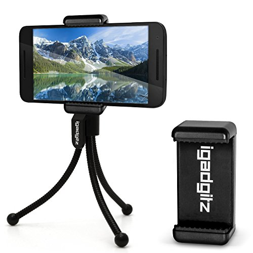 iGadgitz-Black-Flexible-Mini-Table-Top-Tripod-with-Pocket-Clip-Premium-Smartphone-Holder-Mount-Bracket-Adapter-for-Google-Nexus-4-Nexus-5-Nexus-6-Nexus-S-Nexus-One