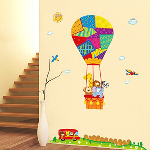 ORDERIN Wall Stickers Decal Hot Air Balloon Animals Mural Art Removable Sticker for Children Room Wall and Home Decor (Hot Air Balloon Paper Plates compare prices)