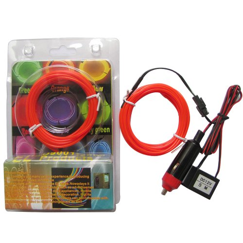 5M 10 Colors Red 2.3Mm Diameter El Wire Light Tron Neon Glow Rope With 12V Transformer Inverter
