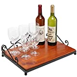 Fleur de lis Brown Solid Wood & Black Iron Decorative Table Centerpiece Display Stand / Serving Tray