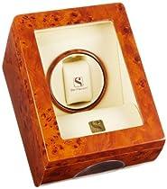 Steinhausen SM483GA Lifetime Wooden Executive Single Watch Winder and Display Case Burlwood Watch Case