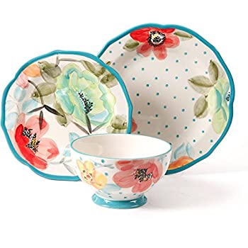 Sophisticated Vintage Bloom 12-Piece Decorated Dinnerware Set, Multicolor