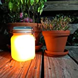 Solar Mason Jar with Yellow Glow and Color Change Option - Recharges From the Sun
