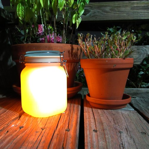Image of Rechargable LED Solar Mason Jar - Color change and Yellow glow