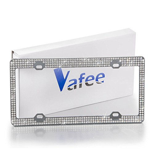 Vafee Sparkle Crystal Bling License Plate Frame with 7 Row Pure Handmade Waterproof Rhinestone Crystal (License Plate Frames Rhinestones compare prices)