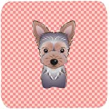 "Caroline's Treasures BB1232FC Checkerboard Pink Yorkie Puppy Foam Coaster (Set Of 4), 3.5"" H X 3.5"" W, Multicolor"
