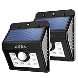Litom ソーラーライト LED 人感センサー アウトドアライト 夜間自動点灯 表玄関/壁掛け/パーク/ガーデン/庭などに照明用(2本セット)