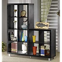 Two Level Bookcase with Metal Legs in Black Finish