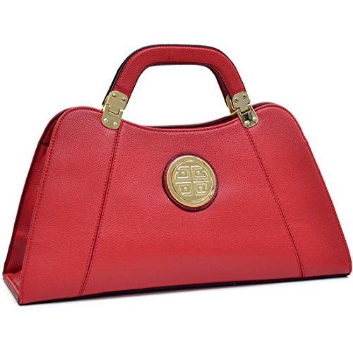 dasein-leather-flat-bottom-golden-emblem-a-symmetrical-handbag-shoulder-bag-with-removable-shoulder-