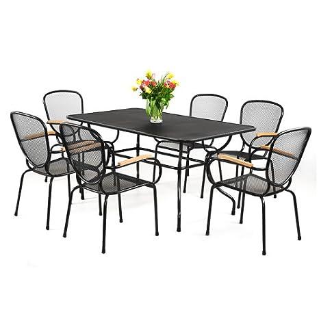 7 tlg. Set Gartenmöbel Sitzgarnitur schwarz pulverbeschichtet POLYWOOD Sitzgruppe Gartenset Terrassenmöbel