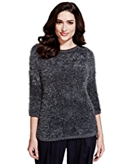 Per Una Metallic Effect Fluffy Knitted Top