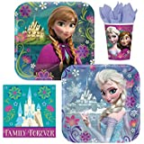 Disney Frozen Party Supplies Pack Including Plates, Cups and Napkins for 16 Guests