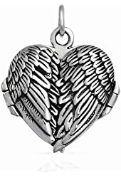 Sterling Silver Angel Wings Locket Pendant
