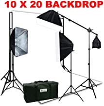 ePhoto Large 10 x 20 White Muslin Background Support Stand 3 Softbox Photo Video Studio Boom Stand H