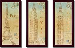 Travel Monuments (New York, London, & Paris) by John Zaccheo 3-pc Premium Mahogany Framed Canvas Set (Ready-to-Hang)