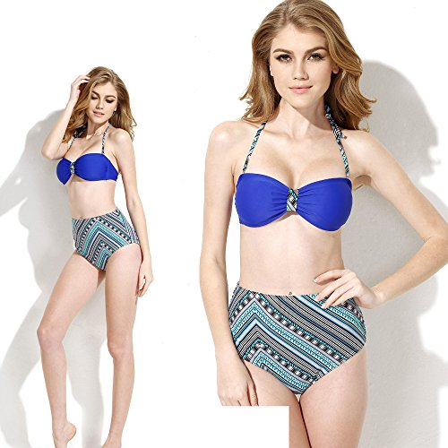 Sexy Women Bandeau Retro Bikini Set Swimsuit Push-Up Bra Bathing Suit Small Blue