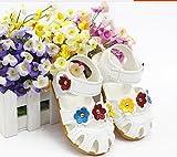 かわいい ベビーシューズ 子供サンダル 誕生日 お花 赤 黄 青  軽量 (13.5, 白×3色お花)