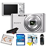 Sony DSC-W830 Digital Camera (Silver) + 16GB Pixi-Starter Kit (International Version)