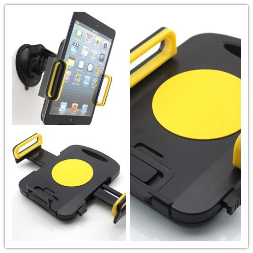 Big Dragonfly High Quality Windshield Dashboard Universal Car Mount Holder for Apple iPads, Galaxy Tab and Other PC Tablets with Firm Suction Cup and Flexible Size Fit Black/Yellow