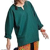 マーライオリジナル ストライプ織コットン キーネックプルオーバー [アジアン ファッション エスニック ファッション ブラウス 長袖Tシャツ カットソー シンプル ベーシック メンズ]|ブラウス 柄物 長袖| Mサイズ ダークグリーン