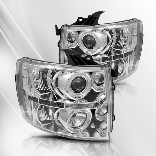 Chevy Silverado 1500/2500/3500 07 08 09 Led Projector Headlights /W Halo/Angle Eyes ~ Pair Set (Chome) front-991697
