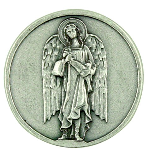 Archangel Saint St Raphael Silver Tone Pocket Token with Prayer Back