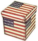 国旗 柄 折り畳み 式 収納 ボックス 椅子 & 足置き台 (米国, ノーマル)