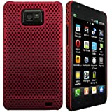 Wayzon Clip On Protection Hybrid Armour Back Case Cover Skin Pouch Shell Holster Red Mesh Net Design For Samsung i9100 Galaxy SII S2 Phone
