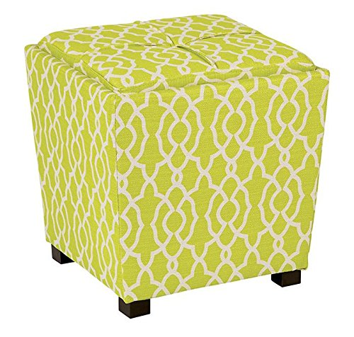2-Piece Ottoman Set with tray top Abby Geo Lime