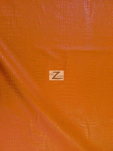 """ALLIGATOR EMBOSSED VINYL FAUX LEATHER PLEATHER FABRIC - Citrus Orange - 54"""" WIDTH SOLD BY THE YARD"""
