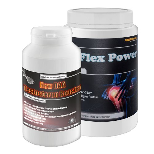New Flex Power 400g Orange+New Daa Testosteron Booster 90g! starke Gelenke Anabol Kollagen Eiweiß Protein Vitamin Sterole