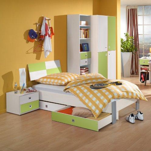 6-tlg Jugendzimmer weiß – apfelgrün Jugendbett Kleiderschrank Nachttisch
