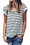 Women's Round Neck Black and White Striped Short Sleeve Shirt Top