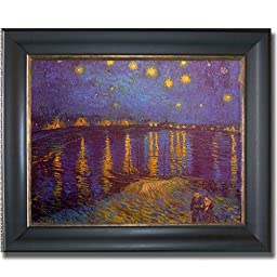 Starlight Over the Rhone by Van Gogh Premium Black & Gold Framed Canvas (Ready-to-Hang)