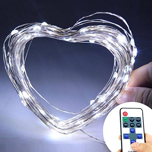Nexscene Starry Durable Dc Silver Coating 10M/33Ft Copper Wire Flexible Lights 100 Led For Wedding Christmas Party Holiday With 12V Power Adapter Wireless Remote Control Mini Dimmer (White)