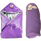 My NewBorn Combo Of Shearing Velvet And Fleece Hooded - Set Of 2 Baby Blankets (purpe)