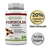 Pure Forskolin Blend 250mg - 60 Veggie Capsules - 20% Standardized - Appetite Suppressant - Forskolin for Weight Loss Burns Fat & Boosts Metabolism