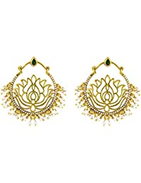 Traditional Ethnic Green Lotus Bali Gold Plated Dangler Earrings With Crystals For Women By Donna ER30113G