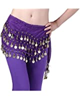 Viskey Fashion Chiffon Belly Dance Waist Chain with Golden Coins in 3-Layers,Purple