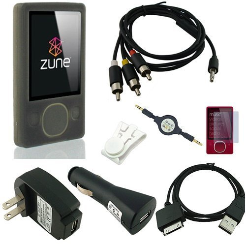 Microsoft Zune 80GB / 120GB Silicone Skin (SMOKE) w/ AV Audio Visual / Video Cable, USB 2in1 Sync and Charging Cable along with universal USB Car and Wall / Travel Chargers, Screen Guard / Protector and a Auxiliary 3.5mm to 3.5mm MP3 Jack Cable