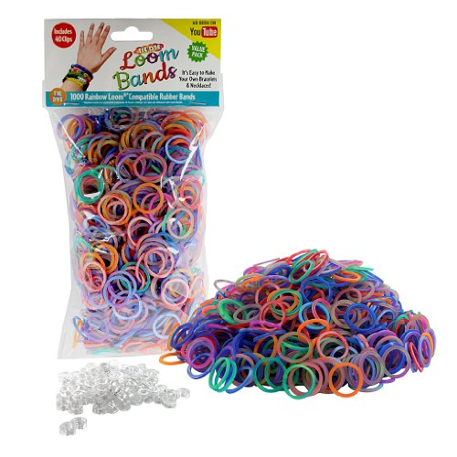 Loom Rubber Bands - 1000 Tye Dye Rubber Band Refill Value Pack w/ 40 Clips (Asst Tye Dye Colors) - 1