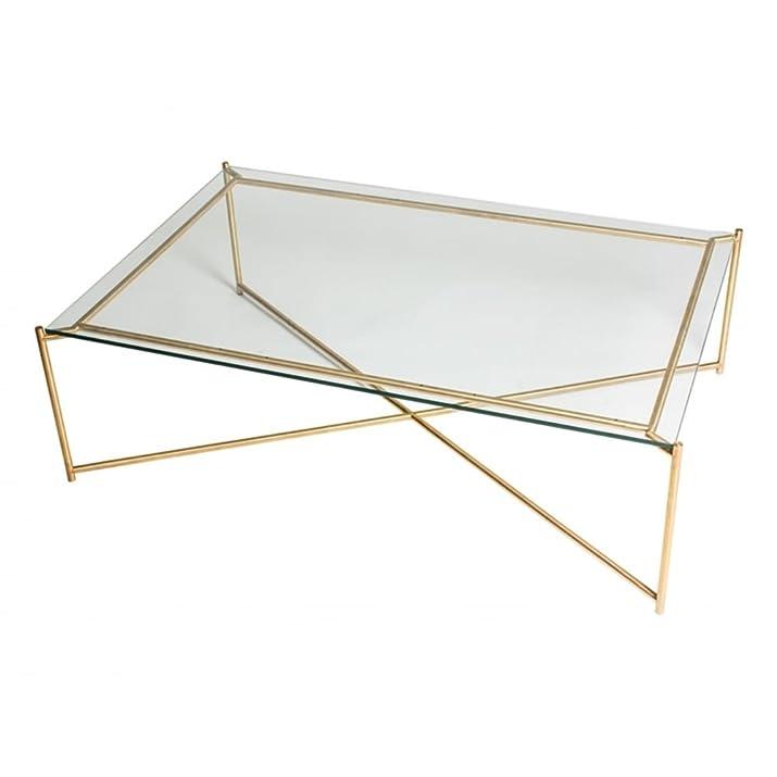 Gillmore Space chiaro vetro Tavolino rettangolare con ottone base a croce