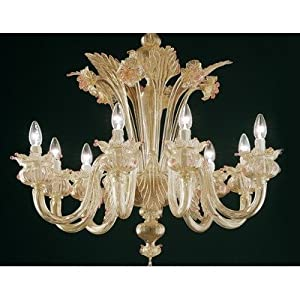 7074 Chandelier Size: 140 cm H x 120 cm Dia, Shade / Dropper Colour: Gold – Ruby :: Best Offers