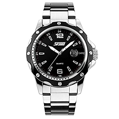 Mens Stainless Steel Band Analog Quartz Unique Business Casual Waterproof Dress Wrist Watch, Classic Design Calendar Date Window - Black