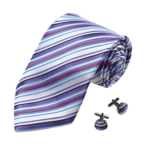 A2102 White Stripes Slate Blue Business-casual Gift Idea One Size Silk Ties Cufflinks Set 2PT By Y&G