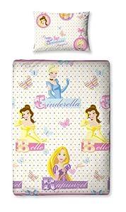 Character World DPC-LOC-MS2-MSC-06 Disney Princess Locket Parure de Lit 1 pers Housse de couette (135cm x 200cm) et 1 taie d'oreiller (48x74cm) Dessin à répetiton- 100% Polyester