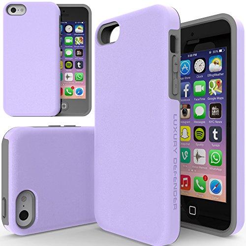 iPhone 5c Case, TEAM LUXURY Purple iPhone 5C Case, [Double Layer] Defender Series [Shock Absorbing] iphone 5c Case (Lavender/ Gray) (I Phone 5c Cases Gems compare prices)