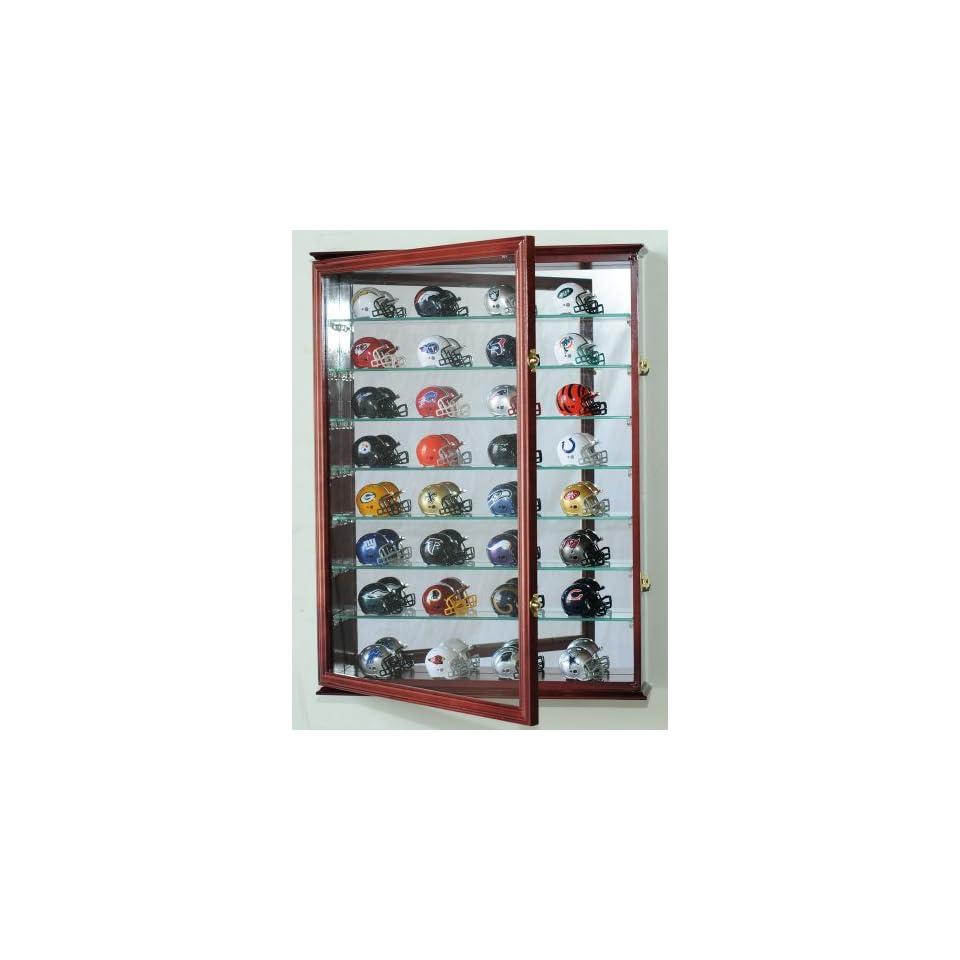 L Pocket Pro mini Helmet Display Case Cabinet Holder Rack for MLB NFL Riddell Pocket Pros w/ UV Protection