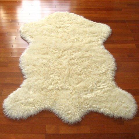 Classic Faux Fur Sheepskin Rug In Ivory Pelt Shape New